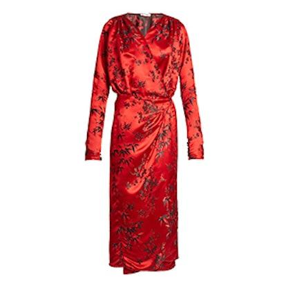 Victoria Oriental Satin-Jacquard Midi Dress