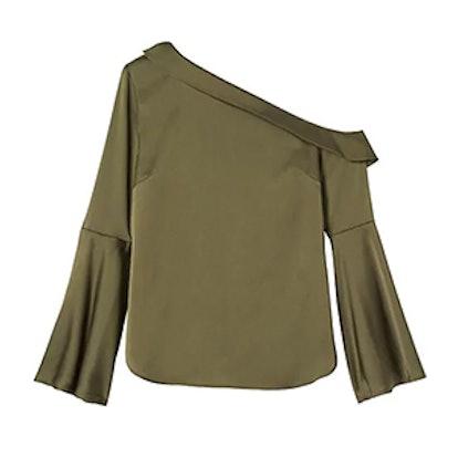 One-Shoulder Flare-Sleeve Top
