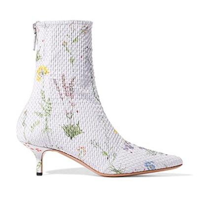 Elliot Floral-Print Matelassé Ankle Boots