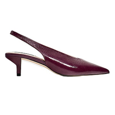 Slingback Leather High Heel Court Shoes
