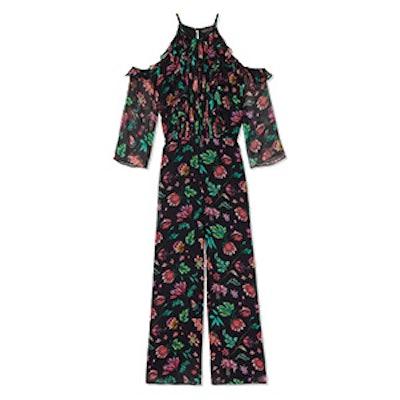 Beth Wide-Leg Floral Printed Crinkle Chiffon Jumpsuit