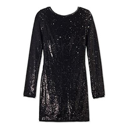 Black Racko Open-Back Bow Detail Sequin Mini Dress