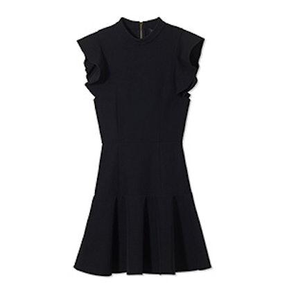 Black Rocco High-Neck Twill Mini Dress