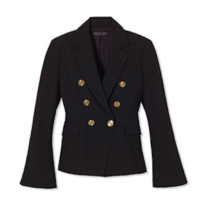 Black Sadie Double-Breasted Bell-Sleeve Twill Blazer