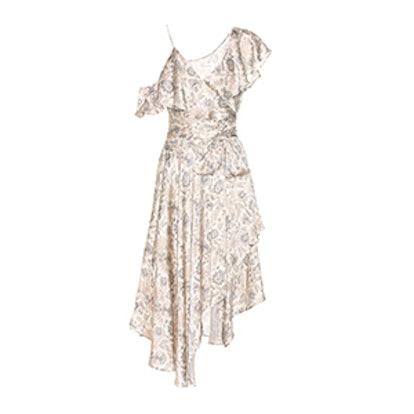 Stranded Wrap Printed Silk Midi Dress