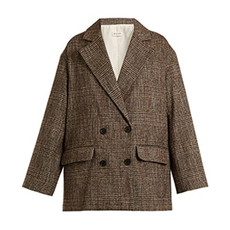 Double-Breasted Checked Cotton-Blend Tweed Blazer