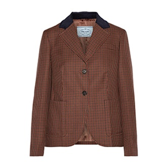 Suede and Corduroy-Trimmed Houndstooth Wool and Mohair-Blend Blazer