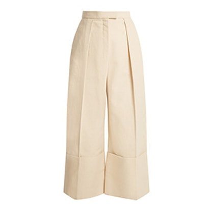 High-Rise Wide-Leg Turn-Up Cotton Culottes
