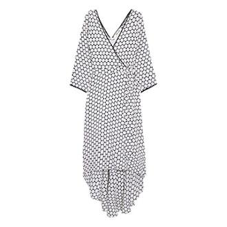 Asymmetric Polka-Dot Silk Midi Wrap Dress