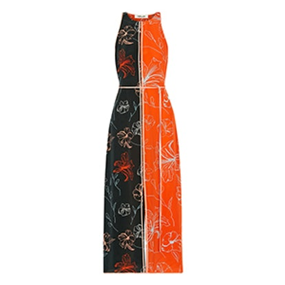 Open-Back Printed Silk Crepe De Chine Midi Dress