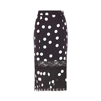 Polka Dotted Silk-Blend Skirt