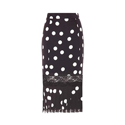 Polka Dotted Silk-Blend Skirt
