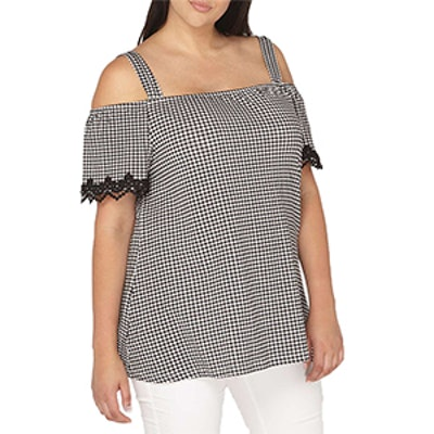 Lace Gingham Bardot Top