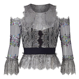 Floral Embroidered Cold Shoulder With Metallic Lace