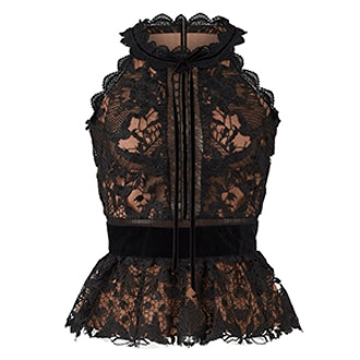 Lace Sleeveless Peplum Top In Black