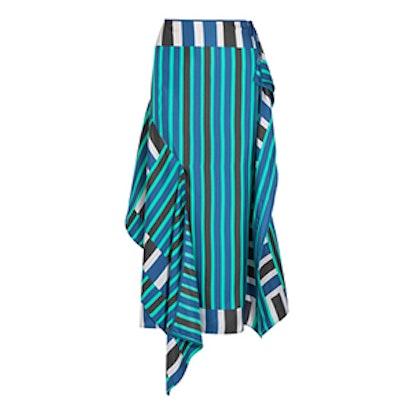 Striped Silk Crepe de Chine Midi Skirt