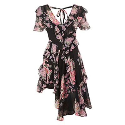 Patchwork Ruffle Mini Dress