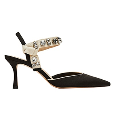 High Heel Slingback Shoes With Beaded Detail