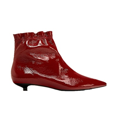 Flat Patent Finish Leather Ankle Boots