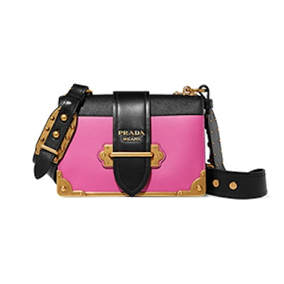Cahier Small Two-Tone Leather Shoulder Bag