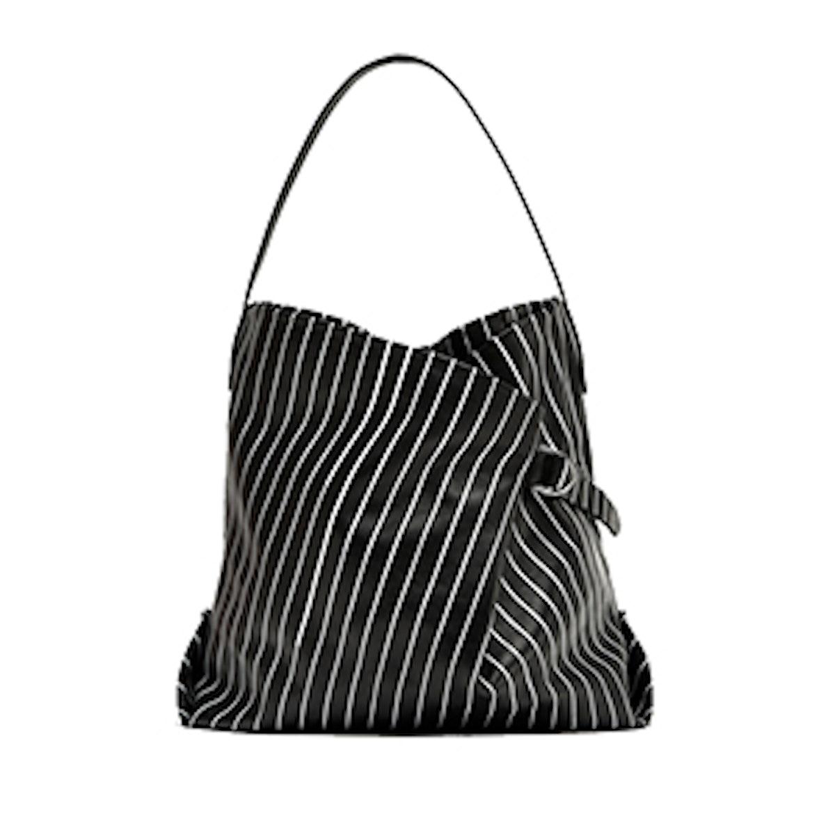 Striped Print Leather Bucket Bag