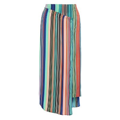 Layered Striped Crepe De Chine Midi Skirt