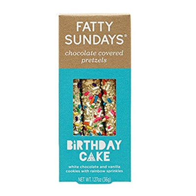 Fatty Sundays Chocolate Covered Pretzels, 1.27oz (Birthday Cake)
