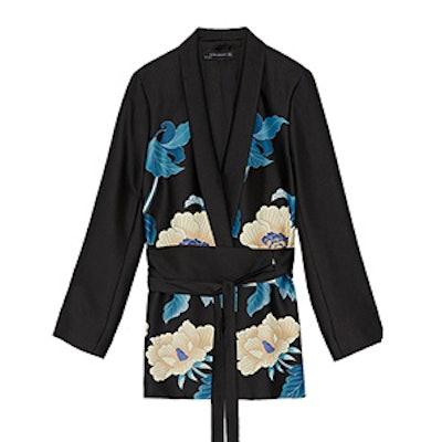 Floral Jacket With Sash Belt