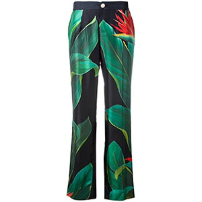 Flower Print Straight Trousers