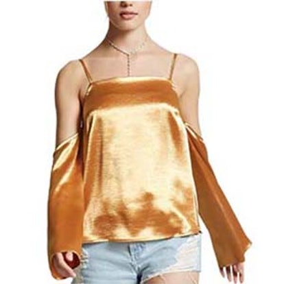 Open-Shoulder Satin Top