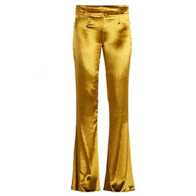 Mid-Rise Kick-Flare Velvet Trousers