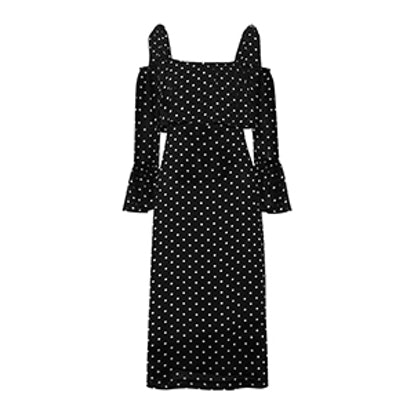 Monette Cold-Shoulder Polka-Dot Georgette Dress