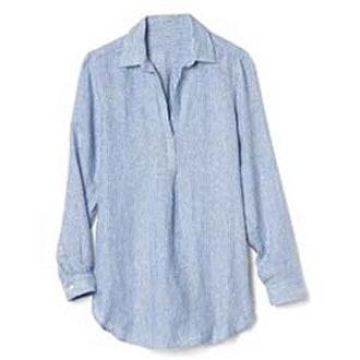 Linen Stripe Popover Tunic