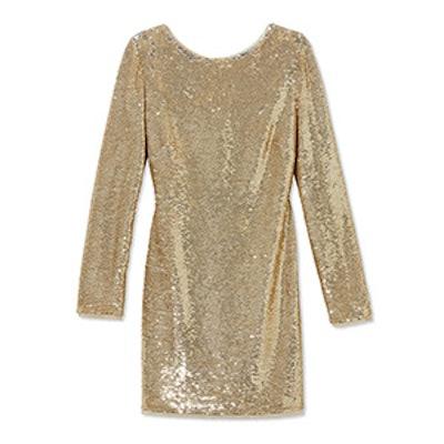 Gold Racko Open-Back Bow Detail Sequin Mini Dress
