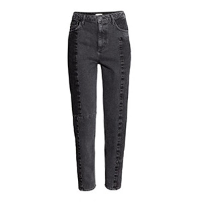 Straight High Patchwork Jeans
