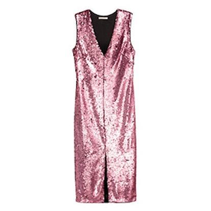 V-neck Sequined Dress