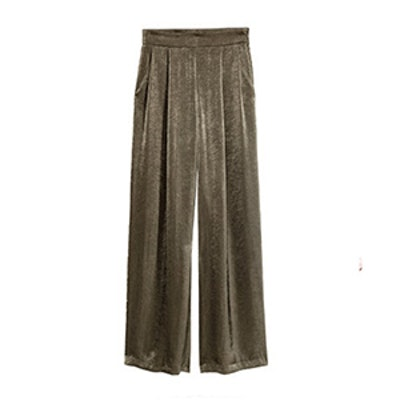 Wide-Cut Satin Pants