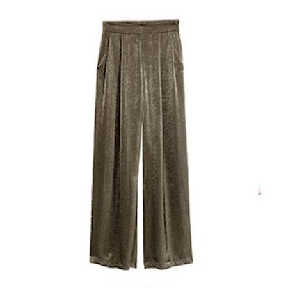Wide-Cut Satin Pants