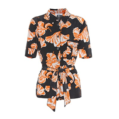 Geroux Floral-Printed Silk Shirt