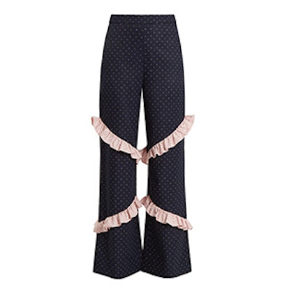 Elisa High-Rise Ruffle-Trimmed Trousers