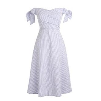 Off The Shoulder Seersucker Dress With Ties