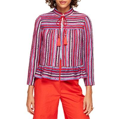 Stripe Texture Tweed Peplum Jacket