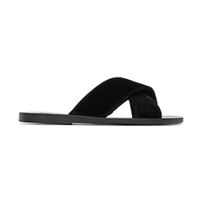 Black Velvet Thais Sandals