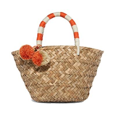 St Tropez Mini Pompom-Embellished Woven Straw Tote