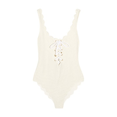 Palm Springs Lace-Up Scalloped Swimsuit
