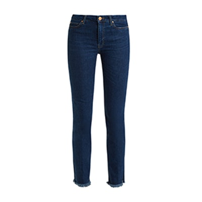 Daily Raw-Hem-Rise Straight-Leg Jeans