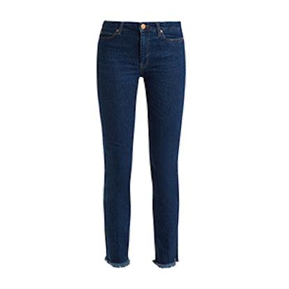 Daily Raw-Hem-Rise Straight-Leg Jeans