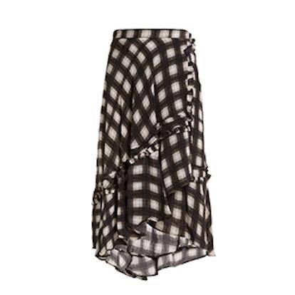 Dixie Checked Woven Midi Skirt