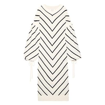 Maples Louche Chevron Wool And Cashmere-Blend Midi Dress