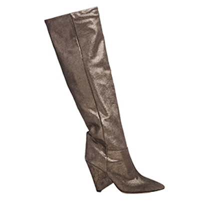 Metallic Suede Knee Boots